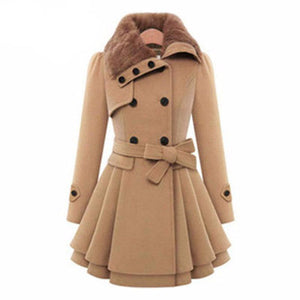 Autumn Woolen Trench Coat-women-wanahavit-Khaki-S-wanahavit