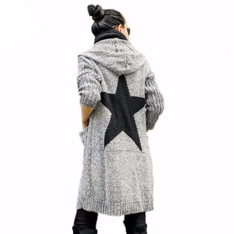 Thick Winter Knitted Star Cardigan Coat-women-wanahavit-Light Gray Mickey-One Size-wanahavit