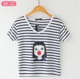 Striped Crop Top Printed Loose Short Sleeve Tees-women-wanahavit-Kiss-One Size-wanahavit