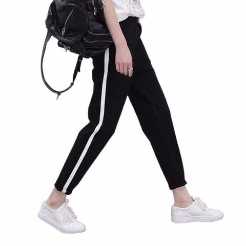 Striped Drawstring Casual Harem Pants-women-wanahavit-Black-M-wanahavit