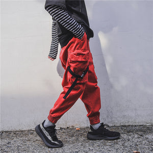Elastic Waist Tactical Cargo Pocket Thick Track Sweat Pants-men fashion & fitness-wanahavit-Red-M-wanahavit