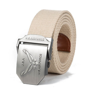 High Quality Fashion Casual USA Air Force Canvas Belt-men-wanahavit-Khaki-110CM-wanahavit