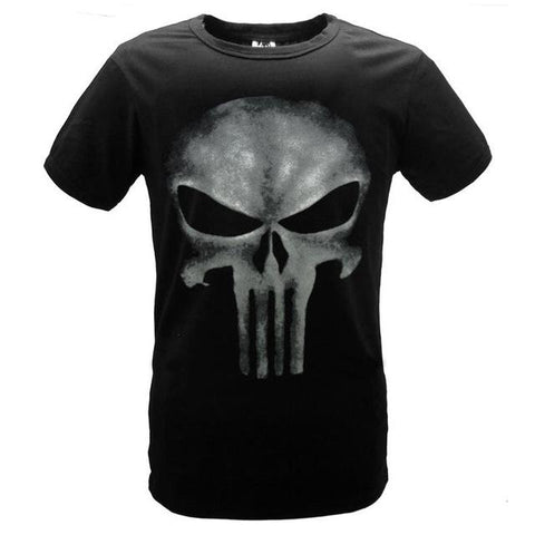 Punisher Printed Black Cotton Tees #chrome-men-wanahavit-S-wanahavit