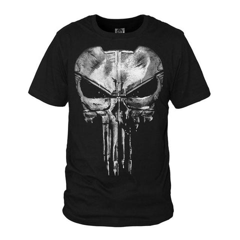 Punisher Printed Black Cotton Tees #robotic