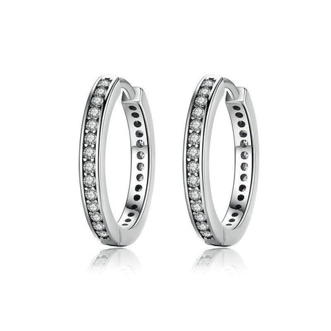 925 Sterling Silver CZ Simple Female Hoop Earring