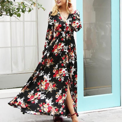 Elegant Floral Print Boho Drawstring Long Maxi Dress-women-wanahavit-Print-S-wanahavit