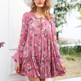 Lace Up Floral Print Long Sleeve Ruffle Dress-women-wanahavit-Pink-S-wanahavit