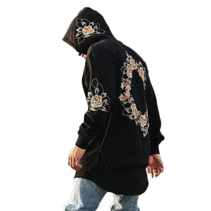 Embroidery Floral Hooded Pullover Hooded Sweatshirt-unisex-wanahavit-black-S-wanahavit