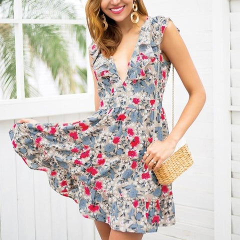 Sleeveless Ruffle Summer Floral Boho Chic Mini Dress-women-wanahavit-Print-S-wanahavit