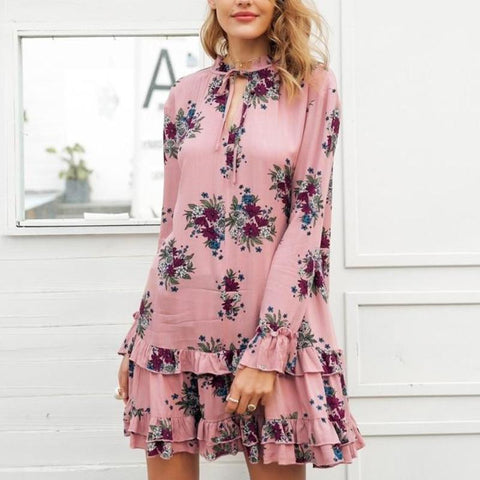Ruffle V Neck Lace Up Print Mini Bohemian Dress-women-wanahavit-Nude pink-S-wanahavit