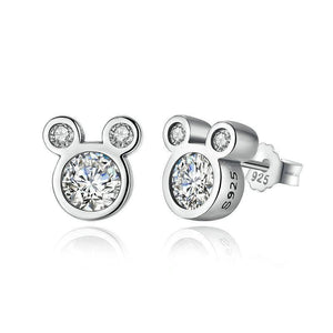 925 Sterling Silver Dazzling Milky Mouse Stud Earrings-women-wanahavit-wanahavit