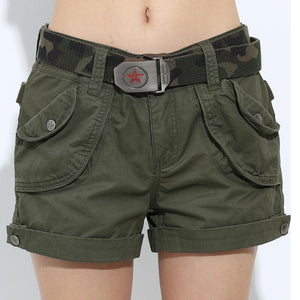 Military Army Loose Pockets Shorts-women-wanahavit-army green shorts-25-wanahavit