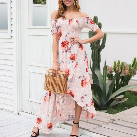 Elegant Off Shoulder Floral Print Summer Asymmetric Dress-wanahavit-Print-S-wanahavit