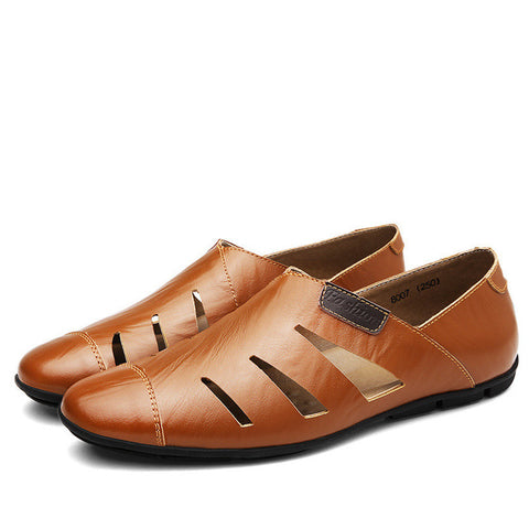 Summer Genuine Breathable Leather Casual Loafer Shoes-men-wanahavit-Brown Shoes-5.5-wanahavit