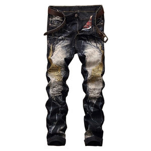 Eagle Wings Embroidery Elastic Denim Pants-men-wanahavit-Blue Black-29-wanahavit