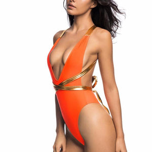 Bather Sexy Deep V Neck Wrap Around High Cut Monokini-women fitness-wanahavit-Orange-L-wanahavit