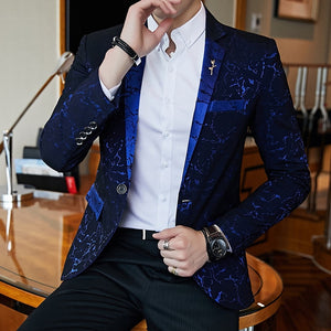 Contrast Collar Luxury Party Shiny Blazers-men-wanahavit-navy blue-L-wanahavit