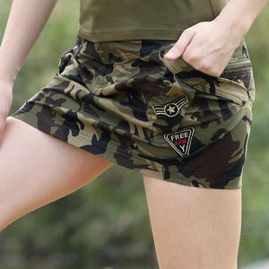 Military Camouflage Design Mid Waist Summer Skirt-women-wanahavit-Camouflage-S-wanahavit