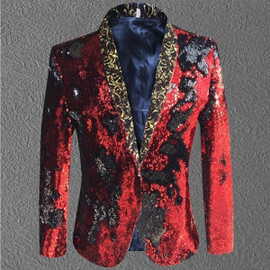 Fancy Sequin Singer Stage Costume Blazer-men-wanahavit-gold red-S-wanahavit