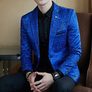 Elegant Rose Jacquard Print Slim Fit Blazer-men-wanahavit-blue-M-wanahavit