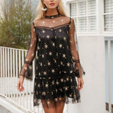 Mesh Star Print Transparent Lace Dress-women-wanahavit-Black-S-wanahavit