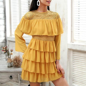 Mesh Hollow Out Summer Flare Sleeve Short Chiffon Dress-women-wanahavit-Yellow-S-wanahavit