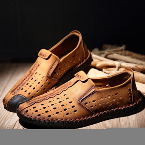 Breathable Hole Summer Leisure Beach Moccasin Shoe-men-wanahavit-Yellow Loafers-38-wanahavit
