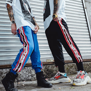 Side Striped Elastic Waist High Street Jogger Sweatpants-men fashion & fitness-wanahavit-Blue-M-wanahavit