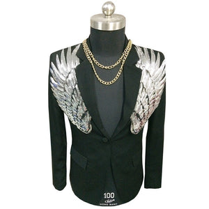 Gold & Silver Sequin Wings Slim Fit Blazer-men-wanahavit-black-4XL-wanahavit