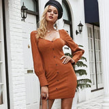 Front Button Long Sleeve Bodycon Sexy Dress-women-wanahavit-Pumpkin-S-wanahavit