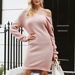 Off Shoulder Knitted Sexy Backless Long Sleeve Sweater Dress-women-wanahavit-Pink-One Size-wanahavit