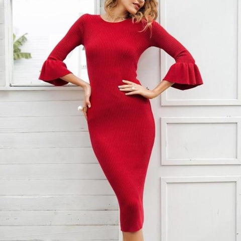 Butterfly Sleeve Knitting Sweater Bodycon Dress-women-wanahavit-2 Red-One Size-wanahavit