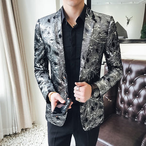 Flashlight Print Velvet High Quality Stylish Blazer-men-wanahavit-Silver-M-wanahavit