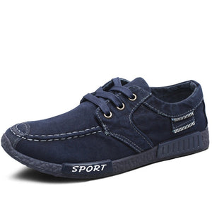 Breathable Denim Canvas Lace Up Sneaker Shoes-men-wanahavit-Blue Sneakers-6-wanahavit
