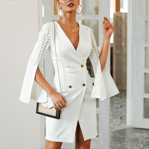 Elegant Lace Up Split Blazer Double Breasted Dress-women-wanahavit-White-S-wanahavit