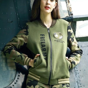Army Camouflage Printed Zip Up Sweatshirt-women-wanahavit-army green-M-wanahavit