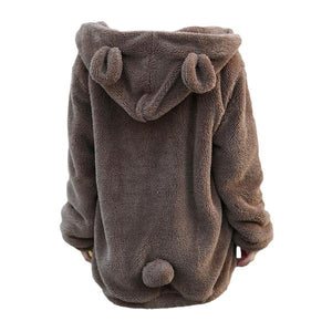 Fluffy Cute Bear Warm Hooded Jacket-women-wanahavit-Black-One Size-wanahavit