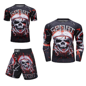 MMA Skull Printed Workout Quick Dry Set-men fitness-wanahavit-1-M-wanahavit