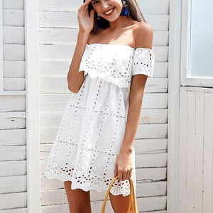 Off Shoulder Lace White Hollow Out Dress-women-wanahavit-White-S-wanahavit