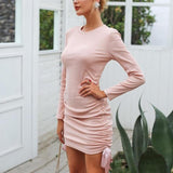 Drawstring Pink Knitted Sweater Dress-women-Nude Pink-S-wanahavit