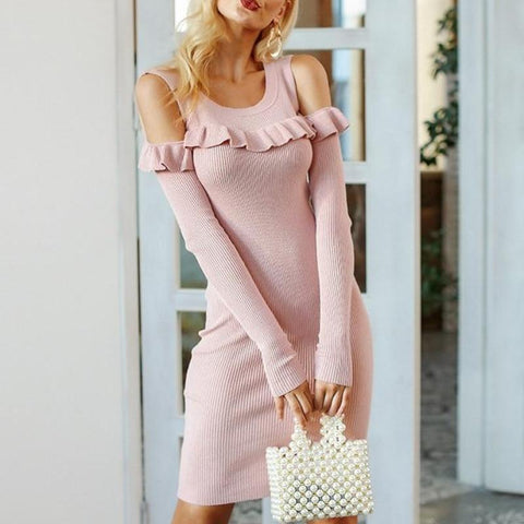 Elegant Ruffles Off Shoulder Sweater Knitted Autumn Dress-women-wanahavit-Pink-S-wanahavit