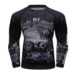 MMA Skull Printed Workout Quick Dry Long Sleeve-men fitness-wanahavit-Gold-Asian M-wanahavit