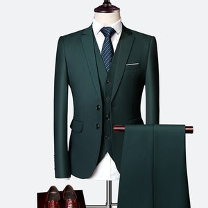 Formal Prom Business Slim Fit Suits Set Jacket, Pants & Vest-men-wanahavit-dark green-XL-wanahavit