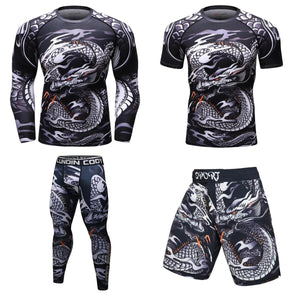 MMA Dragon Printed Workout Quick Dry Fitness Set-men fitness-wanahavit-1-M-wanahavit