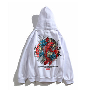 Fish Chinese Letter Printed Hooded Pullover Sweatshirt-unisex-wanahavit-white-M-wanahavit