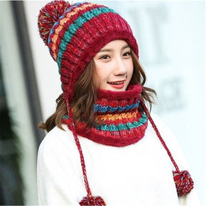 2 Pieces Big Pom Pom Ball Casual Warm Knitted Winter Beanie & Scarf-women-wanahavit-4-wanahavit