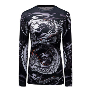 Dragon 3D Print Muscle Compression Long Sleeve Shirt-women fitness-wanahavit-1-M-wanahavit