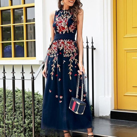 Floral Embroidery Mesh Overlay Party Sleeveless Long Dress-women-wanahavit-Navy blue-S-wanahavit