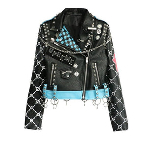 Punk Rock I Wanna Be Me Studded Leather Jacket-women-wanahavit-black-S-wanahavit