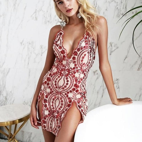 Sexy Backless Strap Mesh Sequin Dress-women-wanahavit-Red-S-wanahavit